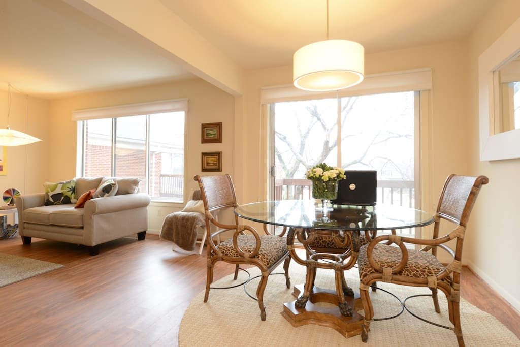 Living Room - Dining Room - Private Balcony for your morning coffee!