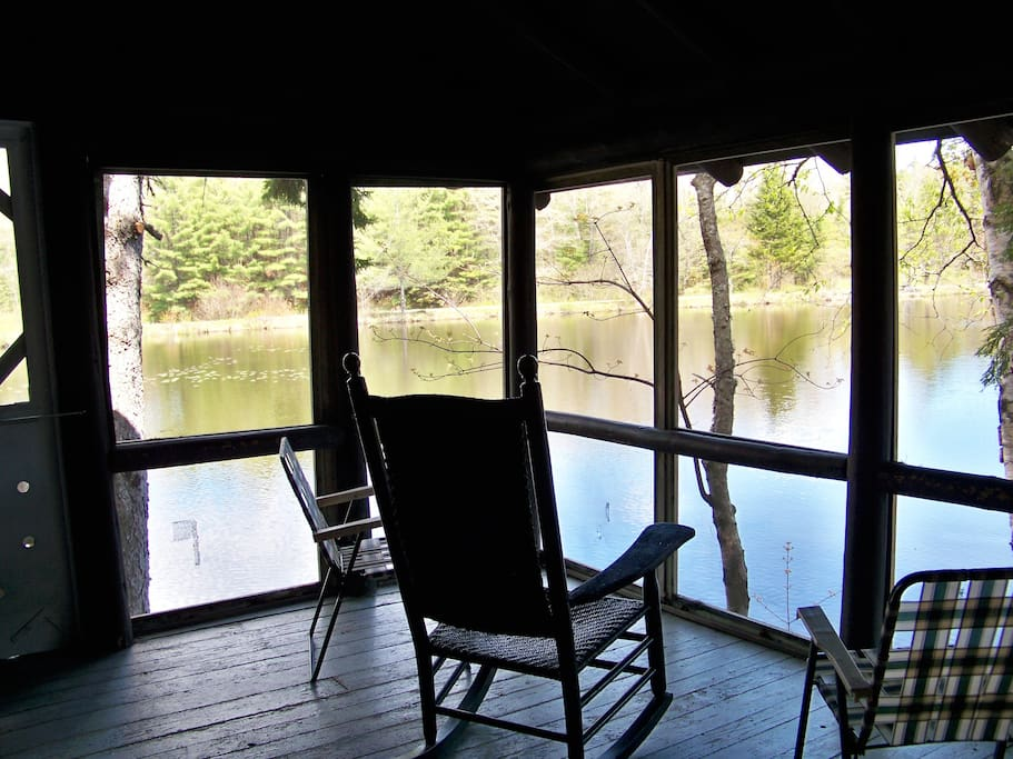 View of and from the screened porch overlooking the pond