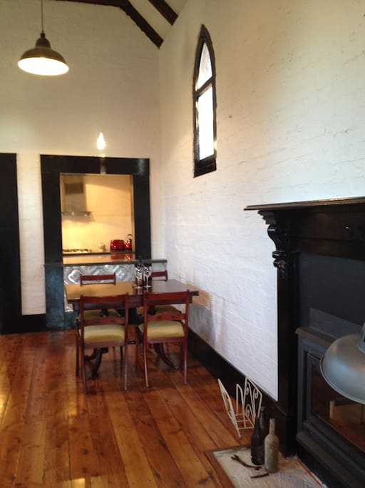 Wood fire and dining area