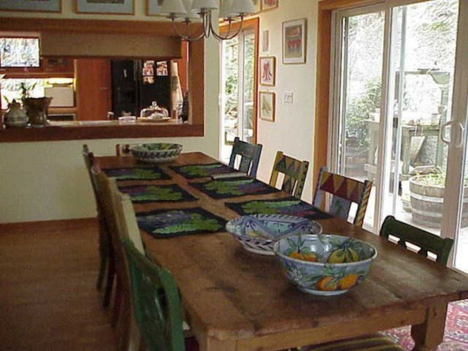 Our 10' antique country pine farm table is the site of many feasts!