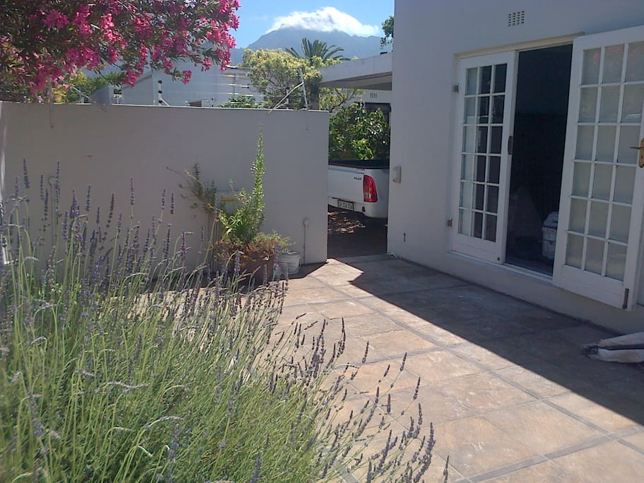 Front patio with mountain view, accessed from main bedroom