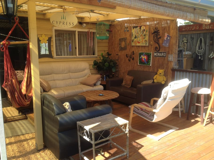 perfect outdoor undercover decking area to relax in