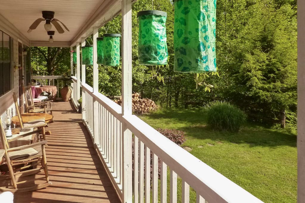 Enjoy the forested Blue Mountain views from the front covered porch!