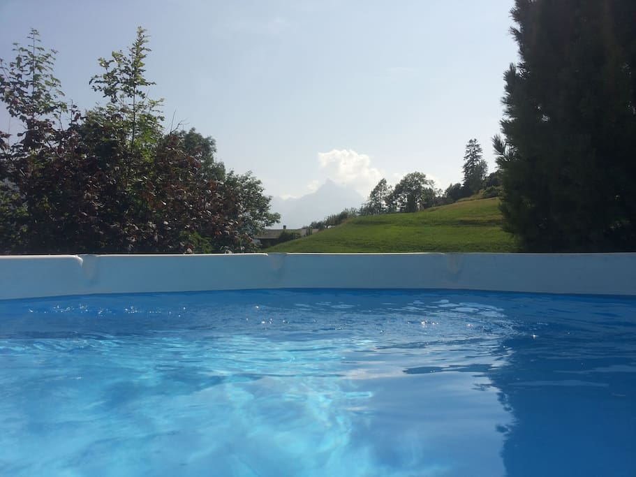 View from the pool in summer