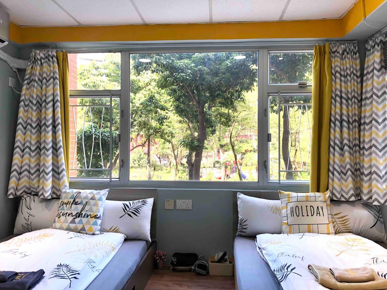 ≛阿木 AMU Bright Quad Room Park View, TST MTR 4mins≛