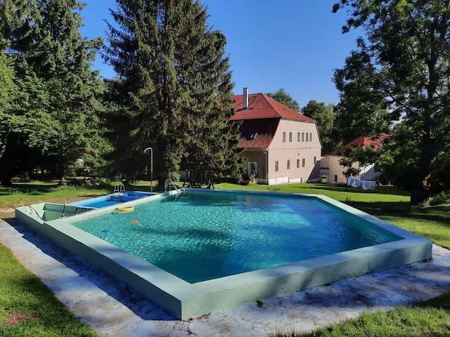 Das blaue Zimmer mit Pool / Eulengebirge
