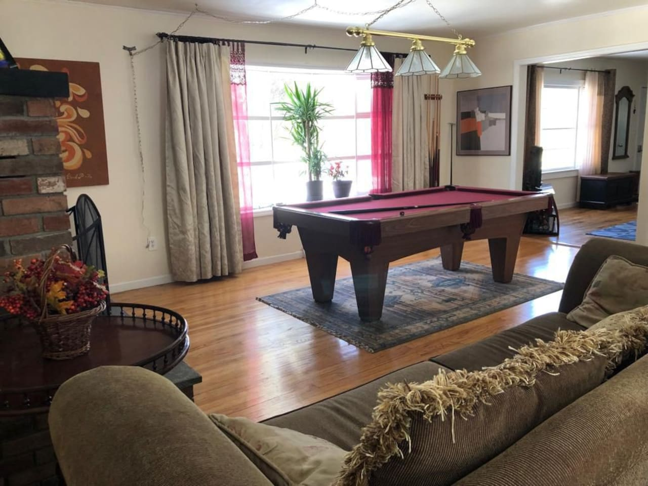 Spacious downstairs area with Pool Table