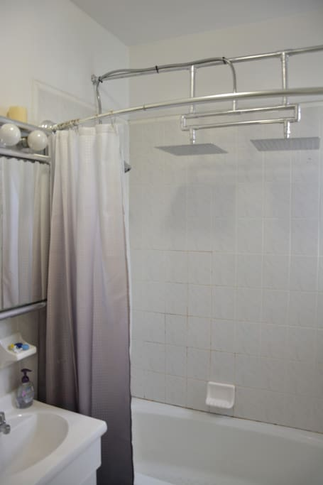 Dual 14-inch rain shower heads, multi-function shower head, spacious curved curtain