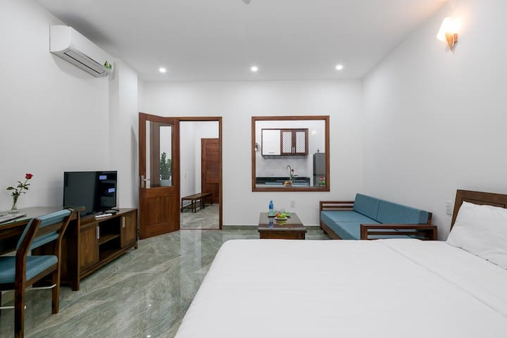 Bright room with soft mattress