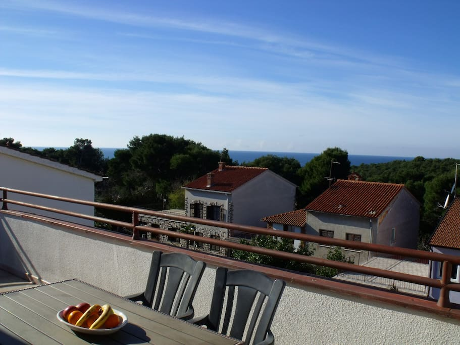 Terrasse mit wunderschöner Aussicht mit Gartenmöbeln und Grillmöglichkeit