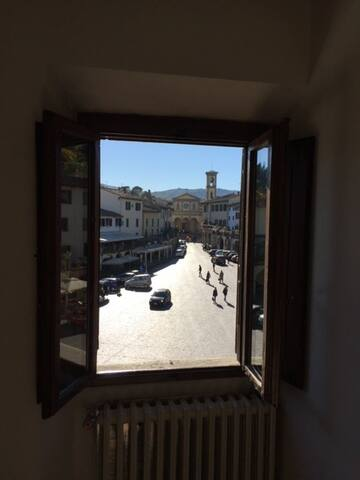 View of the Piazza outside the Dinning Room. Views from Guest Bedrooms as well.