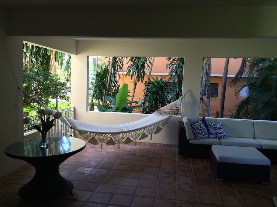 Relax on the hammock in the terrace area.
