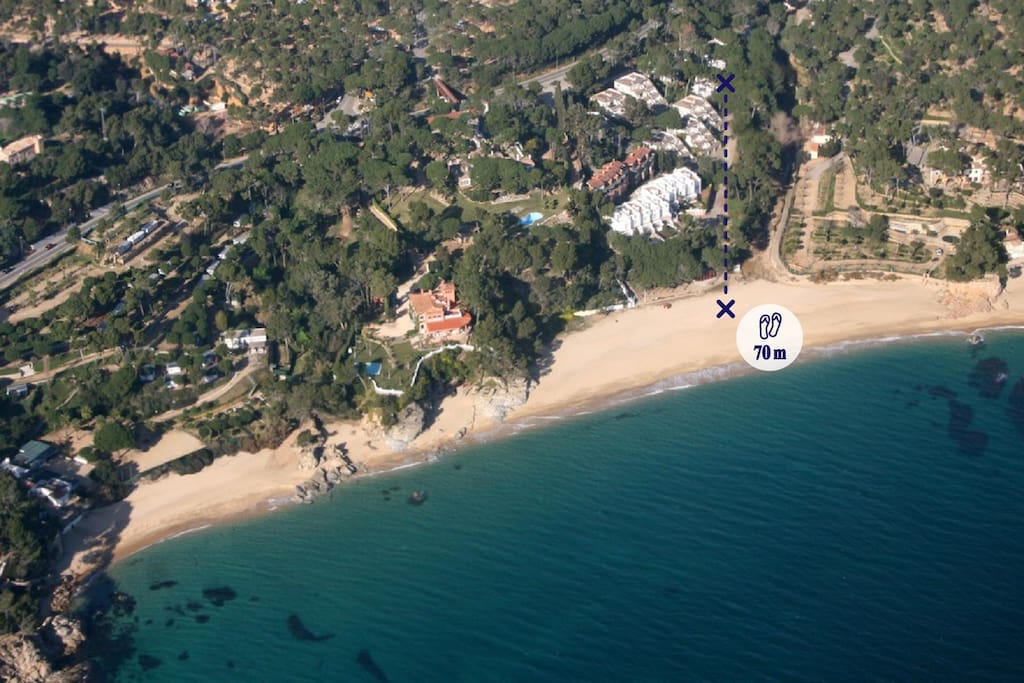Beach Cala Christus 70 meters from apartment by private road