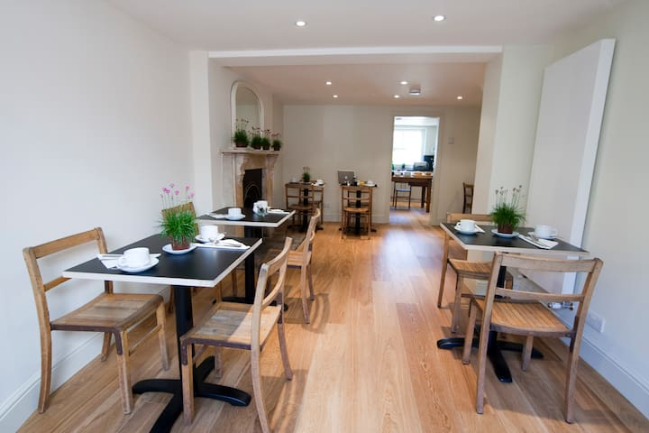 Breakfast room with access to garden, welcome to sit and help yourself to tea and coffee throughout the day