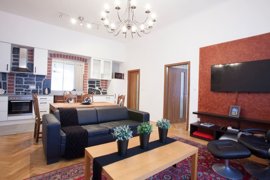 living area with double sofa bed for 2 persons