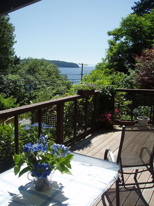 A great deck for meals and relaxing. One part is covered for all weather enjoyment