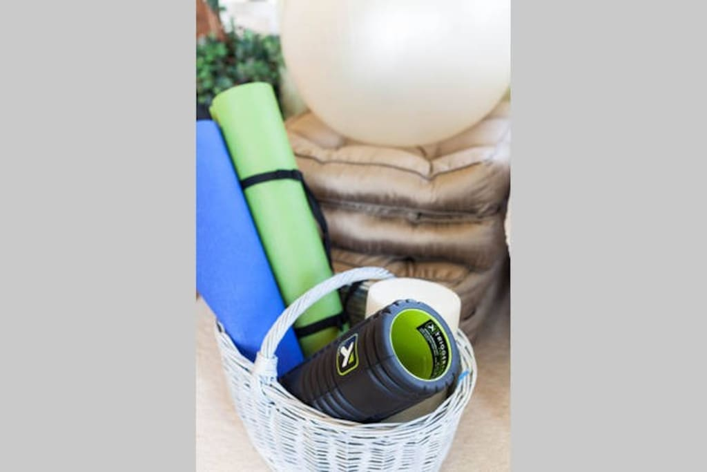 Meditate and stretch with our yoga mats, exercise ball and rollers.