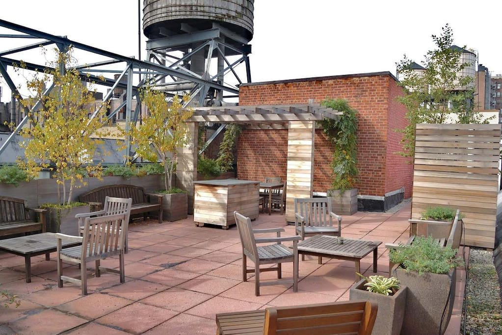 Shared Roof Deck with Shaded seated areas and WiFi access