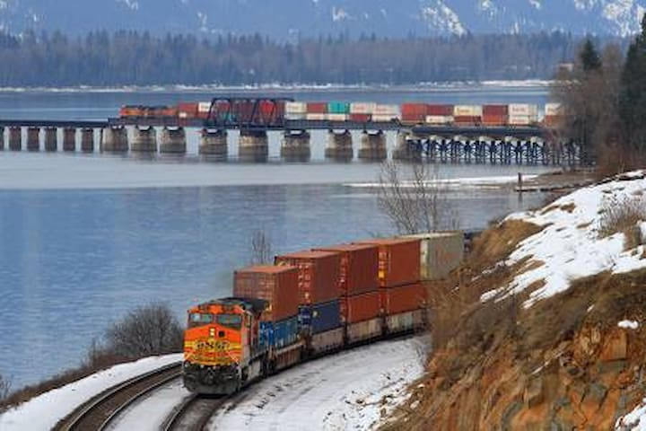 An original stop on the first railroad that opened up the North West, Sandpoint remains an active center for transporting freight.