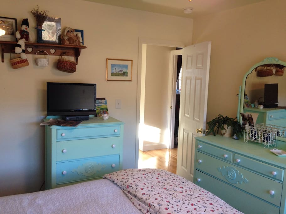 Plenty of dresser storage for long stays. Queen size bed