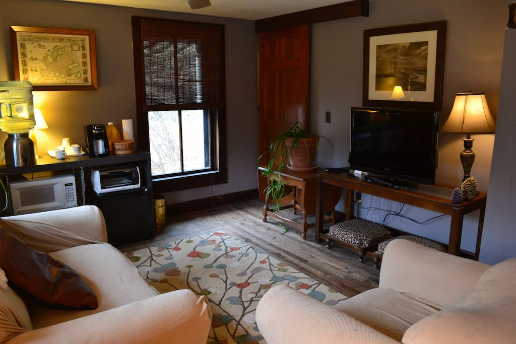 Living area with TV, Netflix, Wii, microwave, toaster oven, mini-fridge, and Keurig coffee.