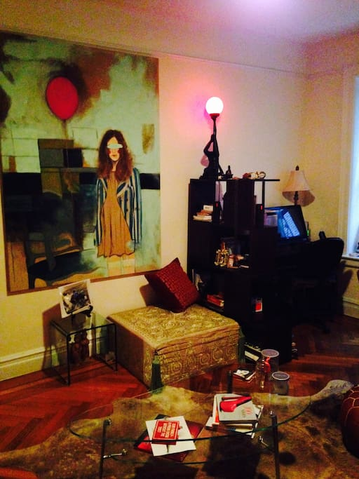 I'm an avid art collector. More recent photos at the bottom. The walls got color :)