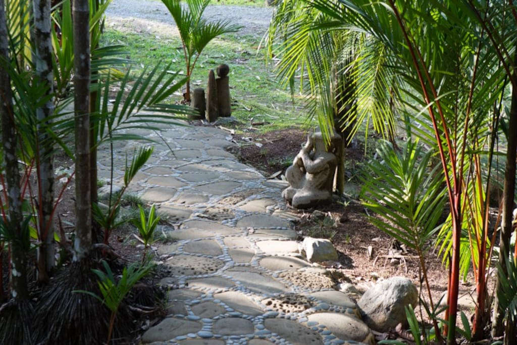 Beautiful stone front walkway...