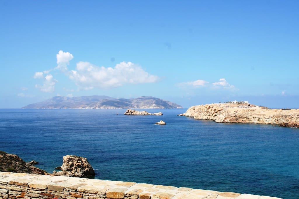 Stunning sea views, from our main veranda, Sikinos island in the backgound