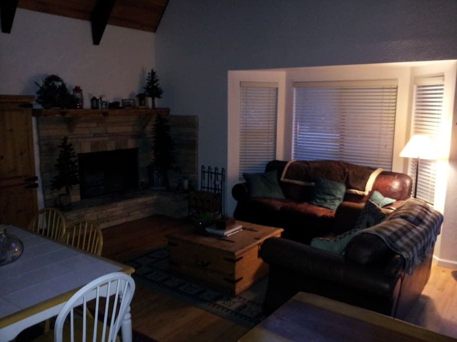 Furnished living room with wood-burning fireplace