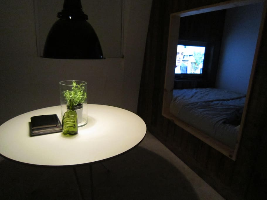 bed area and tv