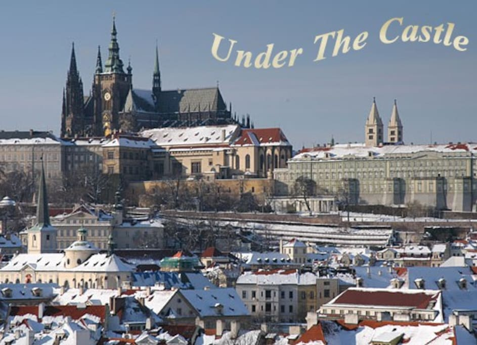 Prague castle  (view from our bldg.), 3 min. walk from apt. to castle steps