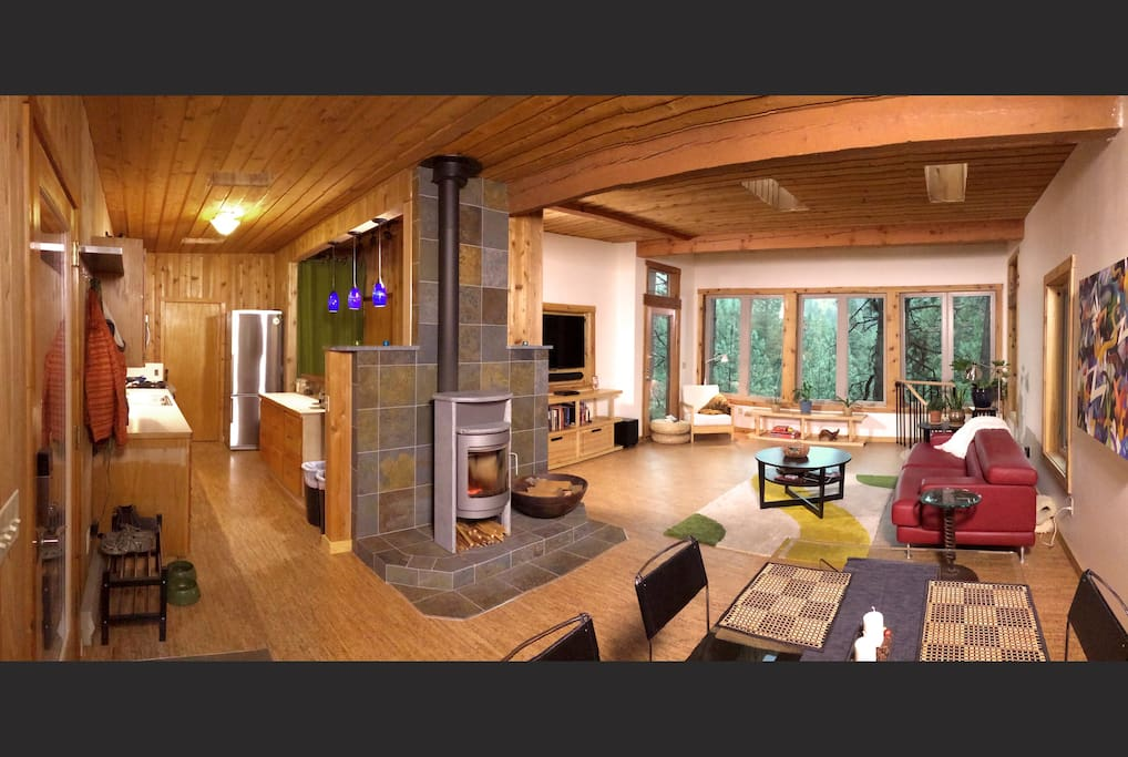 Panorama of the main living area from the NW corner.