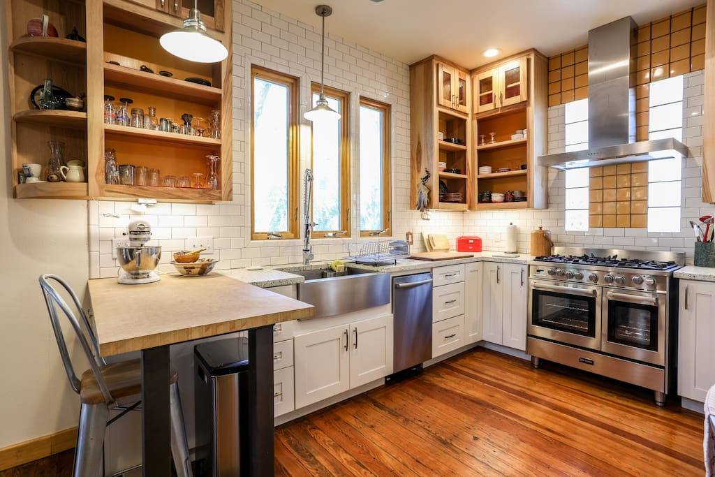 Remodeled kitchen with chef-quality appliances and cookware