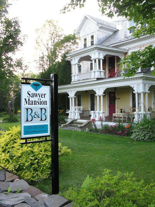 The sign in front of the B&B