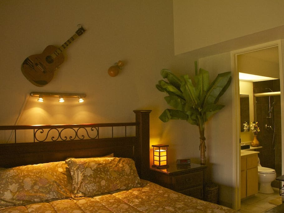 Master bedroom spacious private suite w/ vaulted ceilings & lanai