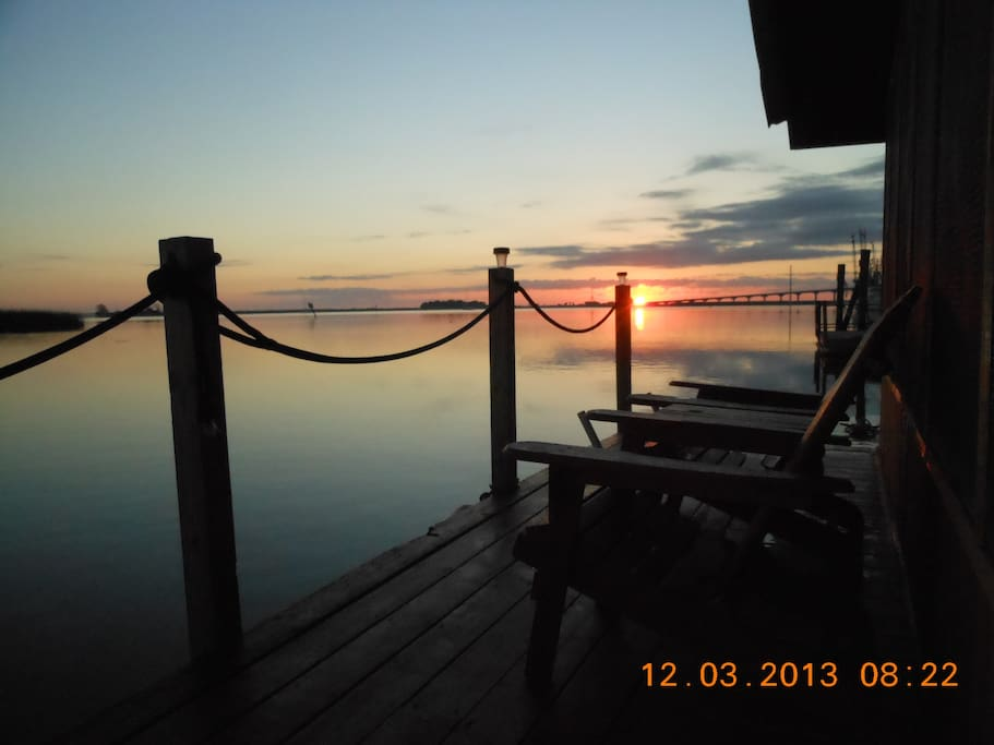 Front deck on the SS Reelaxation at Sunrise