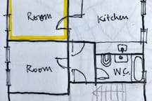 Floor plan (50 m2). This add is for the Yellow room. I live alone in the other room. Kitchen and WC are shared with me.