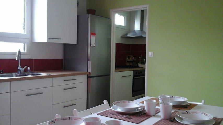 Le coin cuisine( plaque de cuisson et four, lave-vaisselle) et la salle à manger.