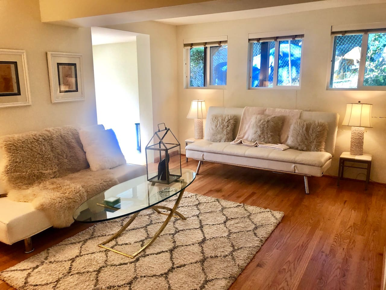 Cozy living room, these sofas fold flat for a queen size bed and an incredibly comfortable feather bed topper to put down before the sheets makes this a perfect option for more guests