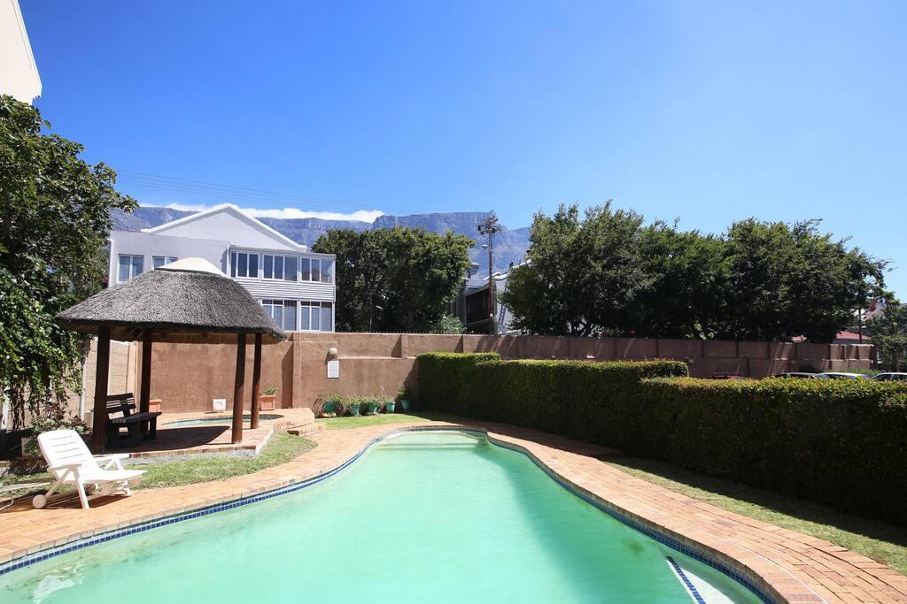 big pool with gorgeous mountain views