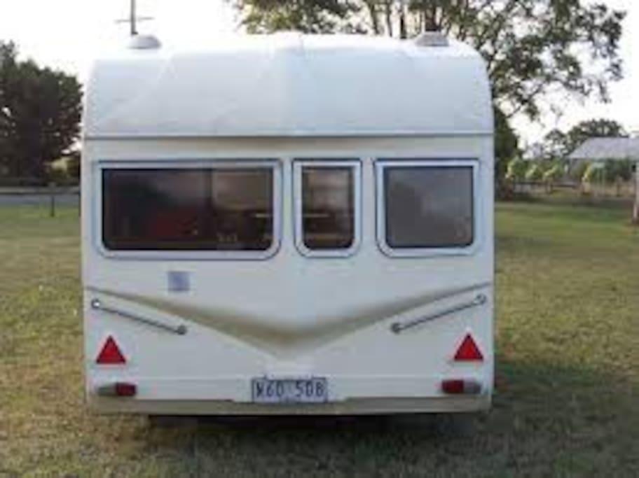 Back of caravan not in its location
