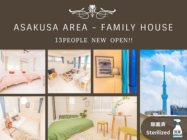 ▼Sterilized▼ 15 mins to Asakusa for 13 pax/Wifi