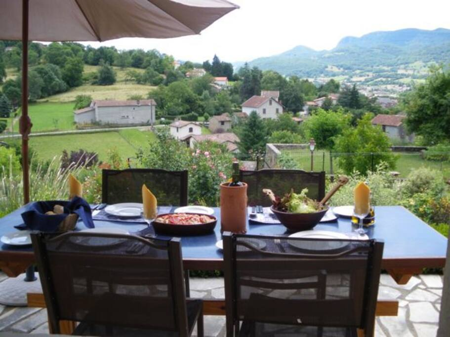 Enjoy the view and outdoor meals on the terrace