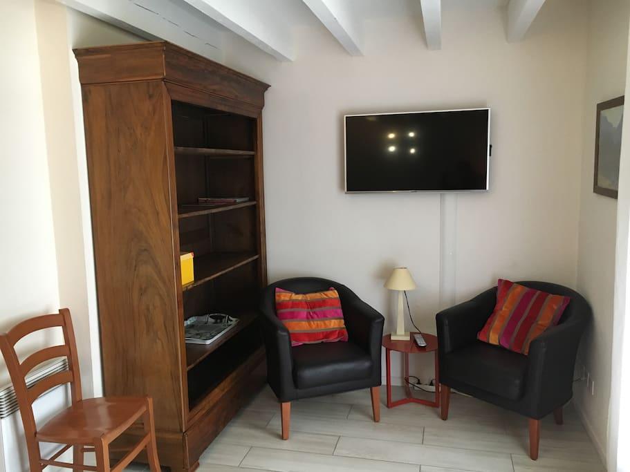 Salon avec TV, Bibliothèque et chaîne Hifi