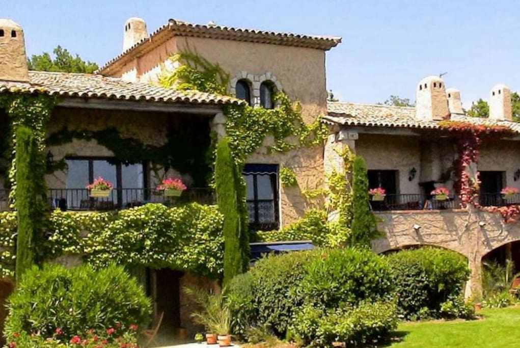 Main provencal building, studio shown ground floor centre with canopy for shade