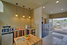 With granite countertops the kitchenette adds flair.