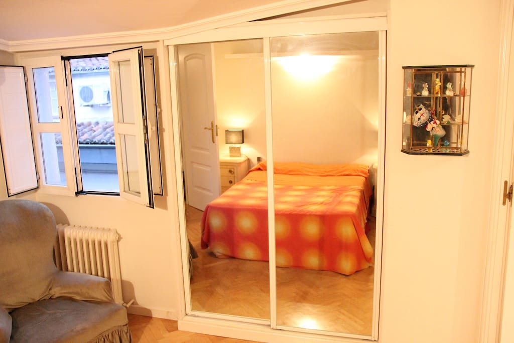 Bedroom with armchair and double closet