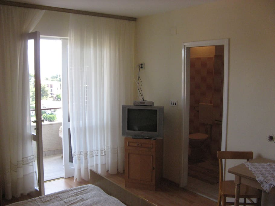 Television and bathroom
