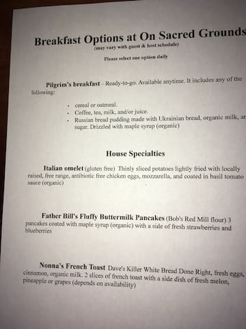 When guest and host schedules allow, breakfast is included. While the Pilgrim's breakfast is always available, advance reservations are requested for House Specialty menu items.