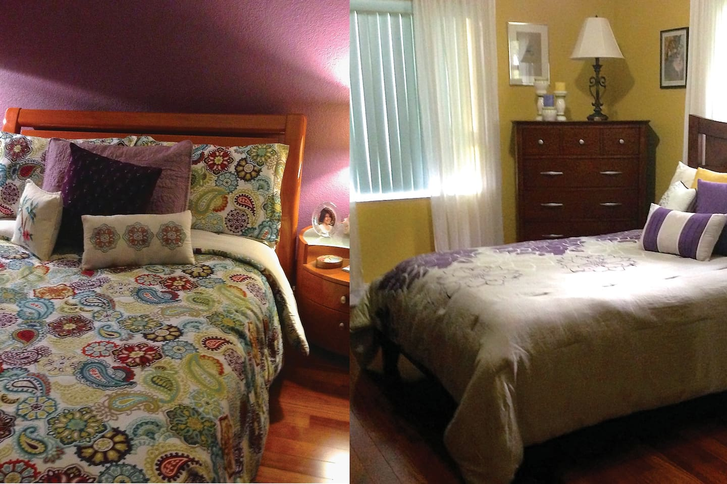 2 bedrooms next to each other - each with a full/double bed and shared bathroom